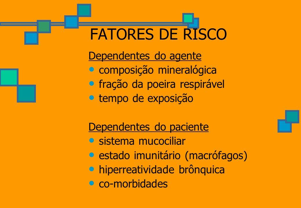 FATORES DE RISCO Dependentes do agente composição mineralógica fração da poeira respirável tempo de exposição Dependentes do paciente sistema mucocili