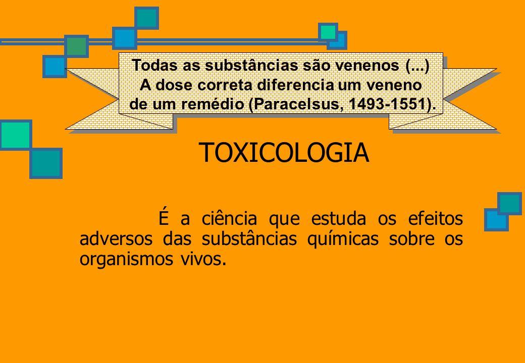 TOXICOLOGIA É a ciência que estuda os efeitos adversos das substâncias químicas sobre os organismos vivos. Todas as substâncias são venenos (...) A do