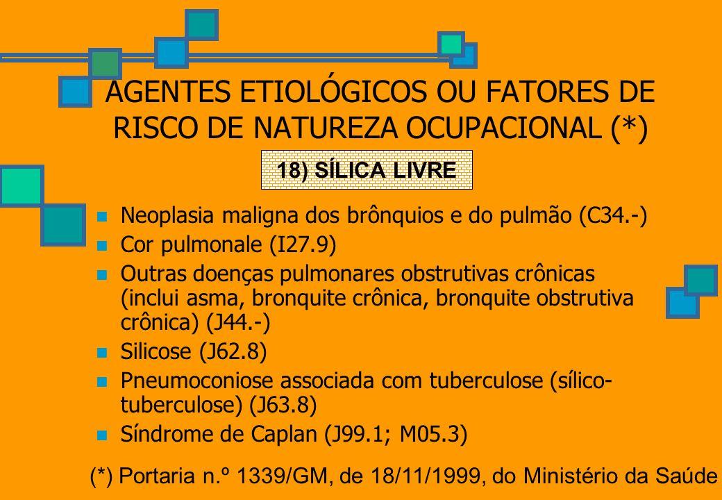 AGENTES ETIOLÓGICOS OU FATORES DE RISCO DE NATUREZA OCUPACIONAL (*) Neoplasia maligna dos brônquios e do pulmão (C34.-) Cor pulmonale (I27.9) Outras d