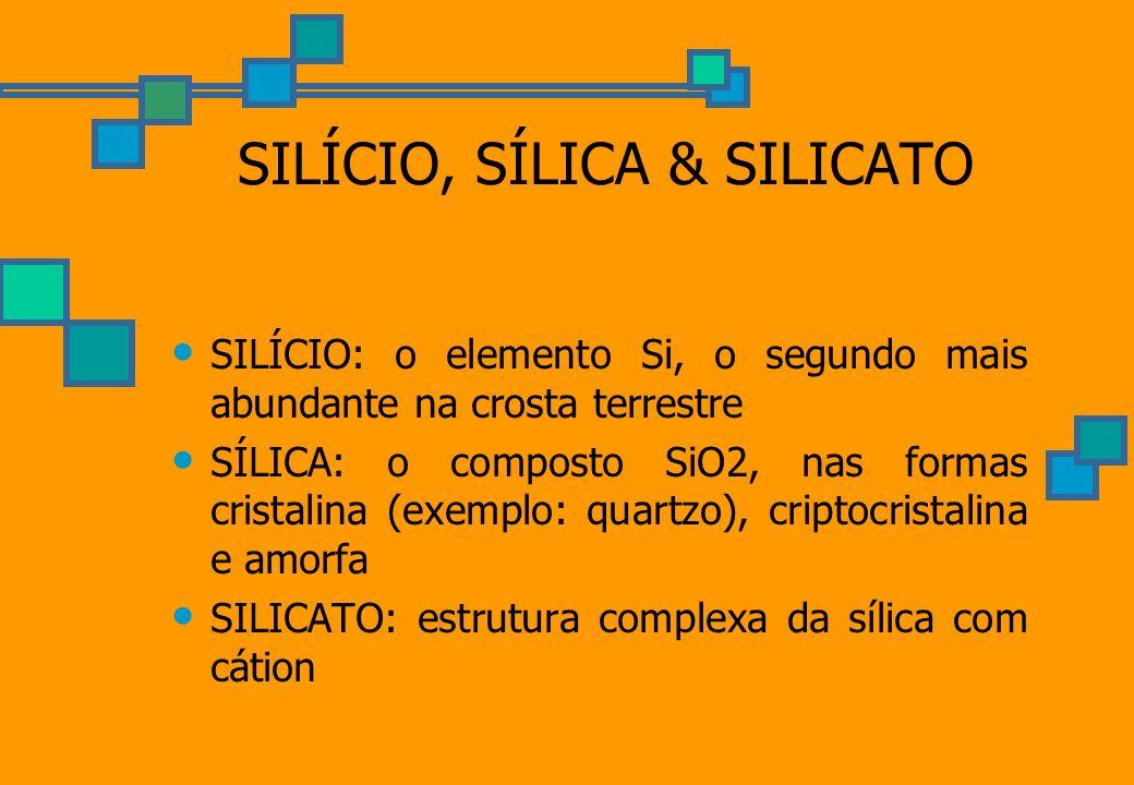 SILÍCIO, SÍLICA & SILICATO SILÍCIO: o elemento Si, o segundo mais abundante na crosta terrestre SÍLICA: o composto SiO2, nas formas cristalina (exempl
