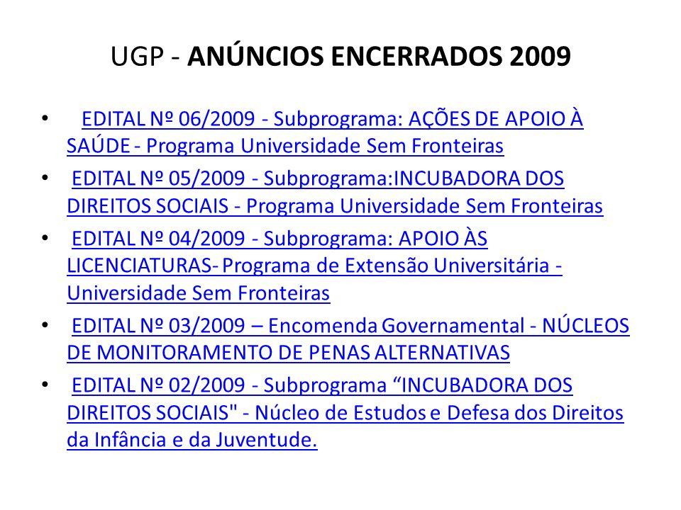 UGP - ANÚNCIOS ENCERRADOS 2009 EDITAL Nº 06/2009 - Subprograma: AÇÕES DE APOIO À SAÚDE - Programa Universidade Sem FronteirasEDITAL Nº 06/2009 - Subpr