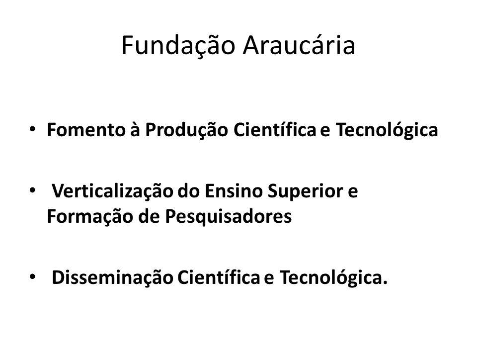 Fundação Araucária Fomento à Produção Científica e Tecnológica Verticalização do Ensino Superior e Formação de Pesquisadores Disseminação Científica e