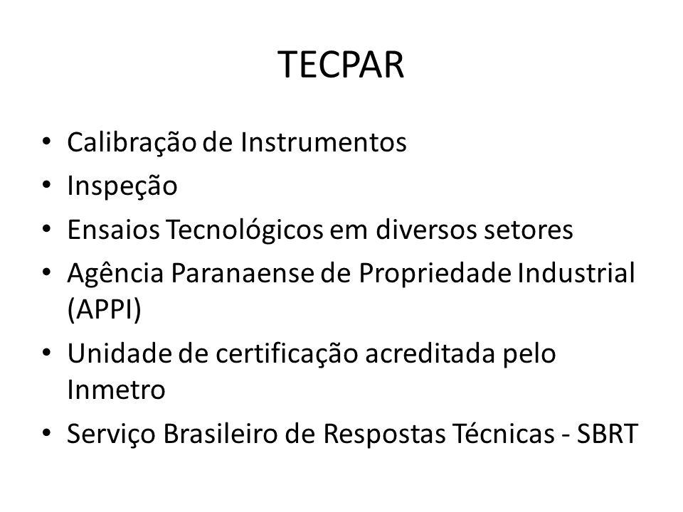 TECPAR Calibração de Instrumentos Inspeção Ensaios Tecnológicos em diversos setores Agência Paranaense de Propriedade Industrial (APPI) Unidade de cer
