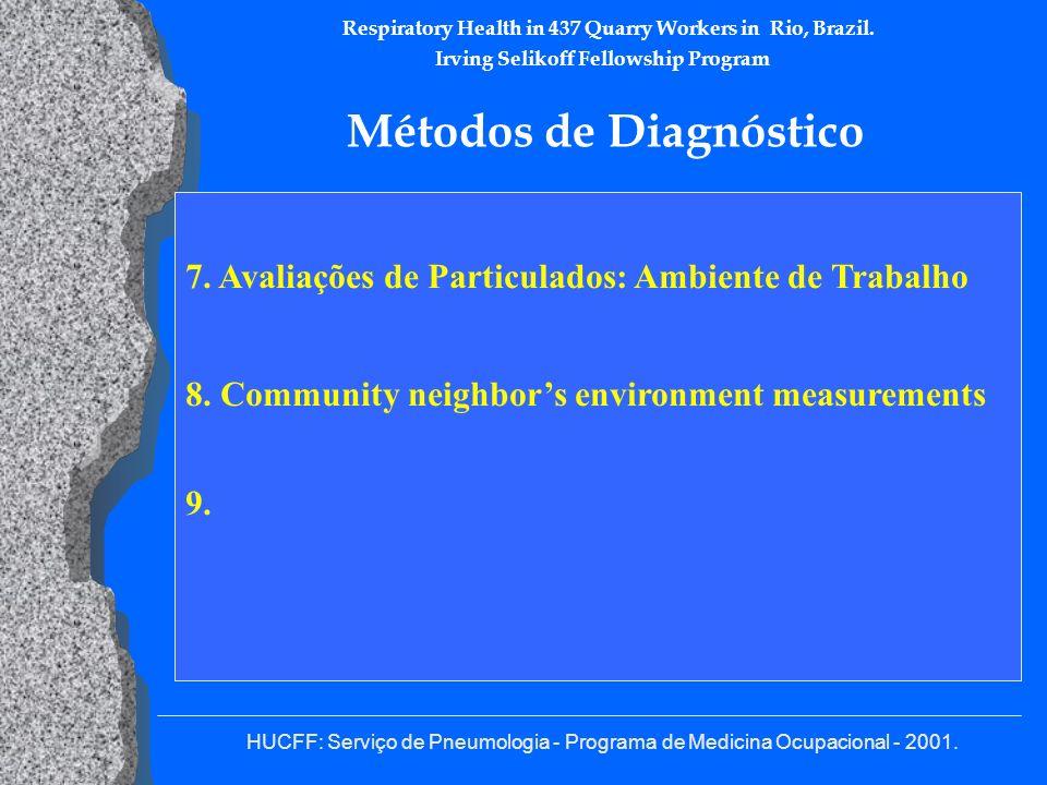 HUCFF: Serviço de Pneumologia - Programa de Medicina Ocupacional - 2001. Respiratory Health in 437 Quarry Workers in Rio, Brazil. Irving Selikoff Fell