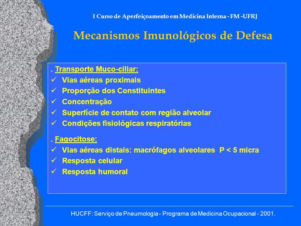 HUCFF: Serviço de Pneumologia - Programa de Medicina Ocupacional - 2001. I Curso de Aperfeiçoamento em Medicina Interna - FM -UFRJ Mecanismos Imunológ