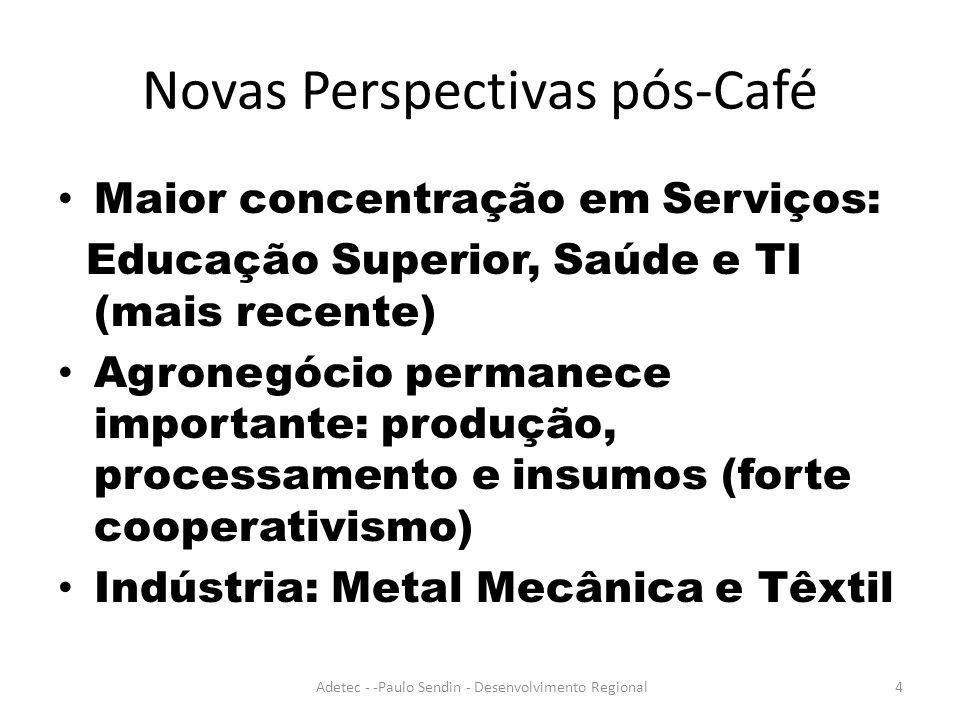 Novas Perspectivas pós-Café Maior concentração em Serviços: Educação Superior, Saúde e TI (mais recente) Agronegócio permanece importante: produção, processamento e insumos (forte cooperativismo) Indústria: Metal Mecânica e Têxtil Adetec - -Paulo Sendin - Desenvolvimento Regional4