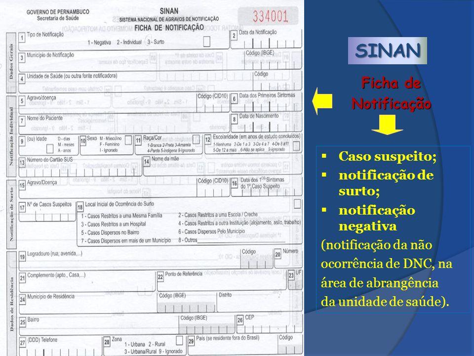 SINAN Caso suspeito; notificação de surto; notificação negativa (notificação da não ocorrência de DNC, na área de abrangência da unidade de saúde). Fi