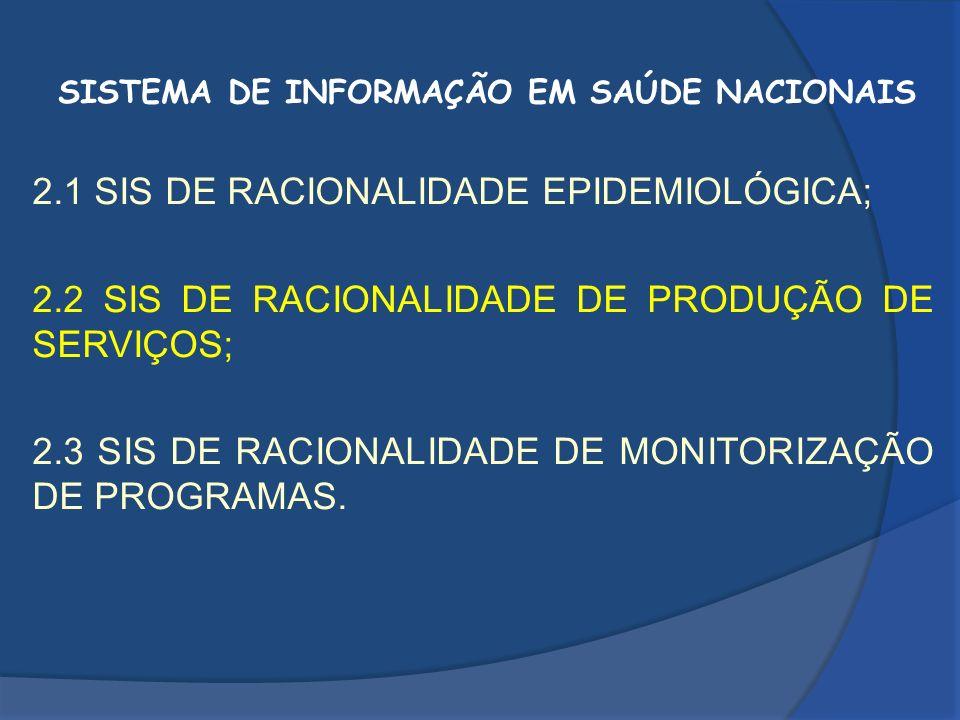 SISTEMA DE INFORMAÇÃO EM SAÚDE NACIONAIS 2.1 SIS DE RACIONALIDADE EPIDEMIOLÓGICA; 2.2 SIS DE RACIONALIDADE DE PRODUÇÃO DE SERVIÇOS; 2.3 SIS DE RACIONA