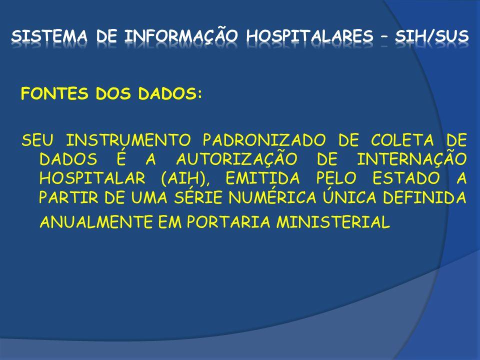 FONTES DOS DADOS: SEU INSTRUMENTO PADRONIZADO DE COLETA DE DADOS É A AUTORIZAÇÃO DE INTERNAÇÃO HOSPITALAR (AIH), EMITIDA PELO ESTADO A PARTIR DE UMA S