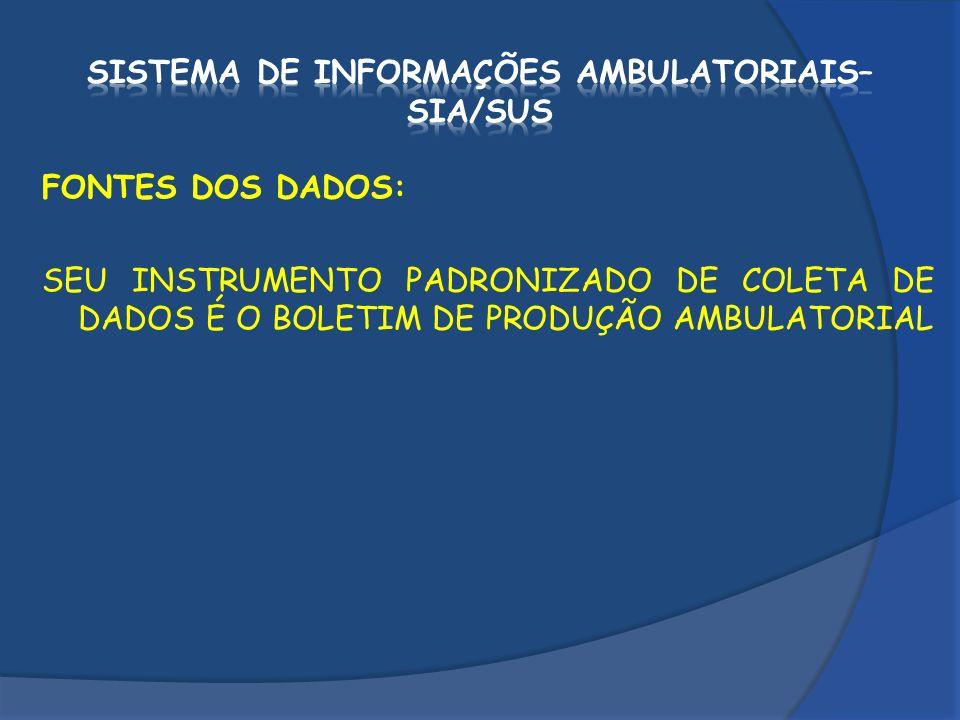 FONTES DOS DADOS: SEU INSTRUMENTO PADRONIZADO DE COLETA DE DADOS É O BOLETIM DE PRODUÇÃO AMBULATORIAL (BPA).
