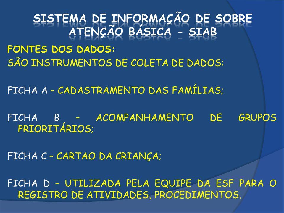 FONTES DOS DADOS: SÃO INSTRUMENTOS DE COLETA DE DADOS: FICHA A – CADASTRAMENTO DAS FAMÍLIAS; FICHA B – ACOMPANHAMENTO DE GRUPOS PRIORITÁRIOS; FICHA C