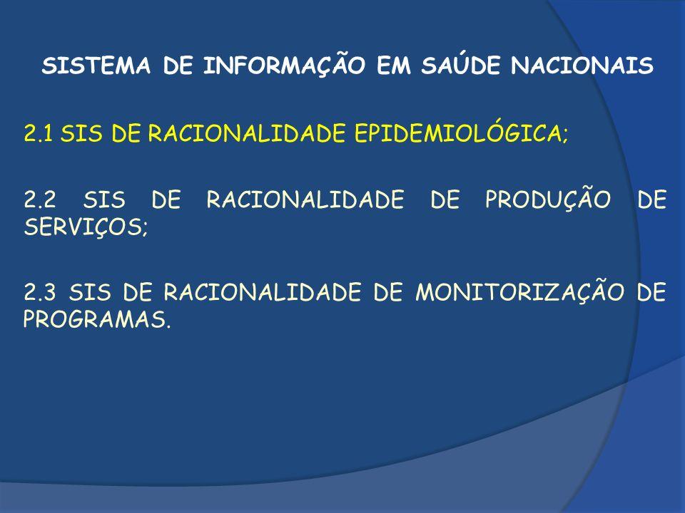 2.1 SIS DE RACIONALIDADE EPIDEMIOLÓGICA SISTEMA DE INFORMAÇÃO DE AGRAVOS DE NOTIFICAÇÃO; SISTEMA DE INFORMAÇÃO DE MORTALIDADE; SISTEMA DE INFORMAÇÃO DE NASCIDOS VIVOS