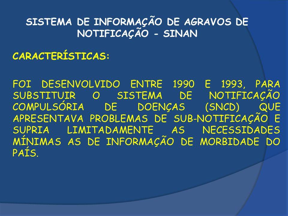 SISTEMA DE INFORMAÇÃO DE AGRAVOS DE NOTIFICAÇÃO - SINAN CARACTERÍSTICAS: FOI DESENVOLVIDO ENTRE 1990 E 1993, PARA SUBSTITUIR O SISTEMA DE NOTIFICAÇÃO