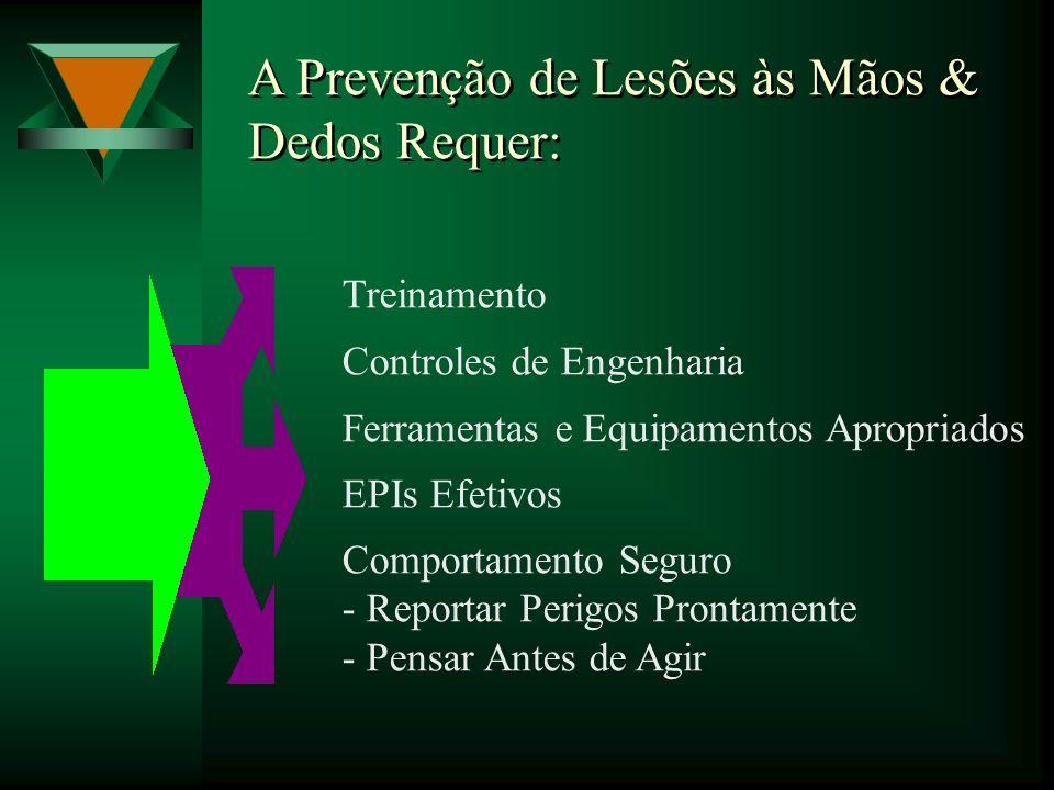 A Prevenção de Lesões às Mãos & Dedos Requer: Treinamento Controles de Engenharia Ferramentas e Equipamentos Apropriados EPIs Efetivos Comportamento S