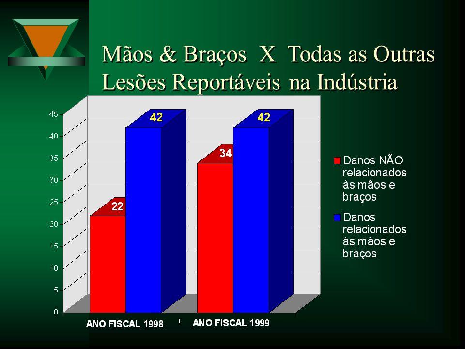 Mãos & Braços X Todas as Outras Lesões Reportáveis na Indústria