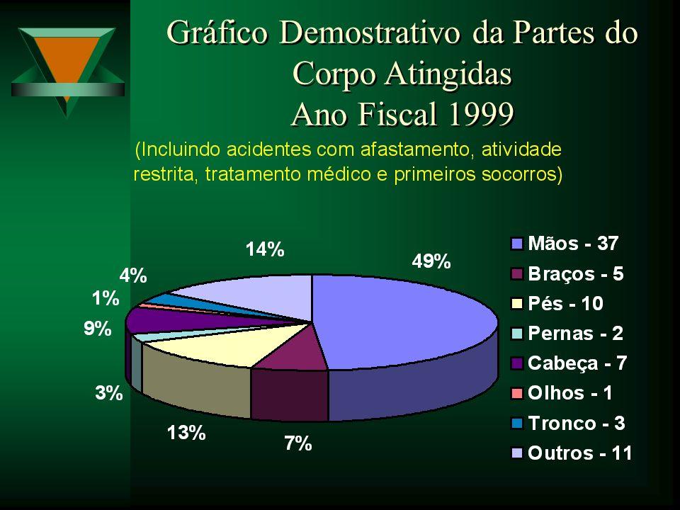 Gráfico Demostrativo da Partes do Corpo Atingidas Ano Fiscal 1999 Gráfico Demostrativo da Partes do Corpo Atingidas Ano Fiscal 1999