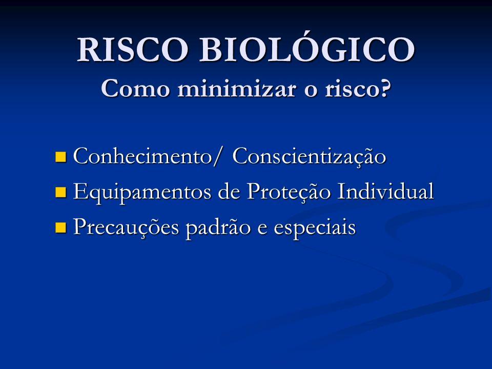 RISCO BIOLÓGICO Como minimizar o risco? Conhecimento/ Conscientização Conhecimento/ Conscientização Equipamentos de Proteção Individual Equipamentos d