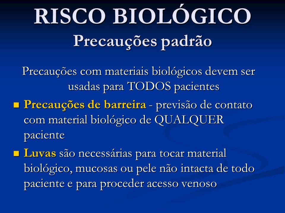 RISCO BIOLÓGICO Precauções padrão Precauções com materiais biológicos devem ser usadas para TODOS pacientes Precauções de barreira - previsão de conta