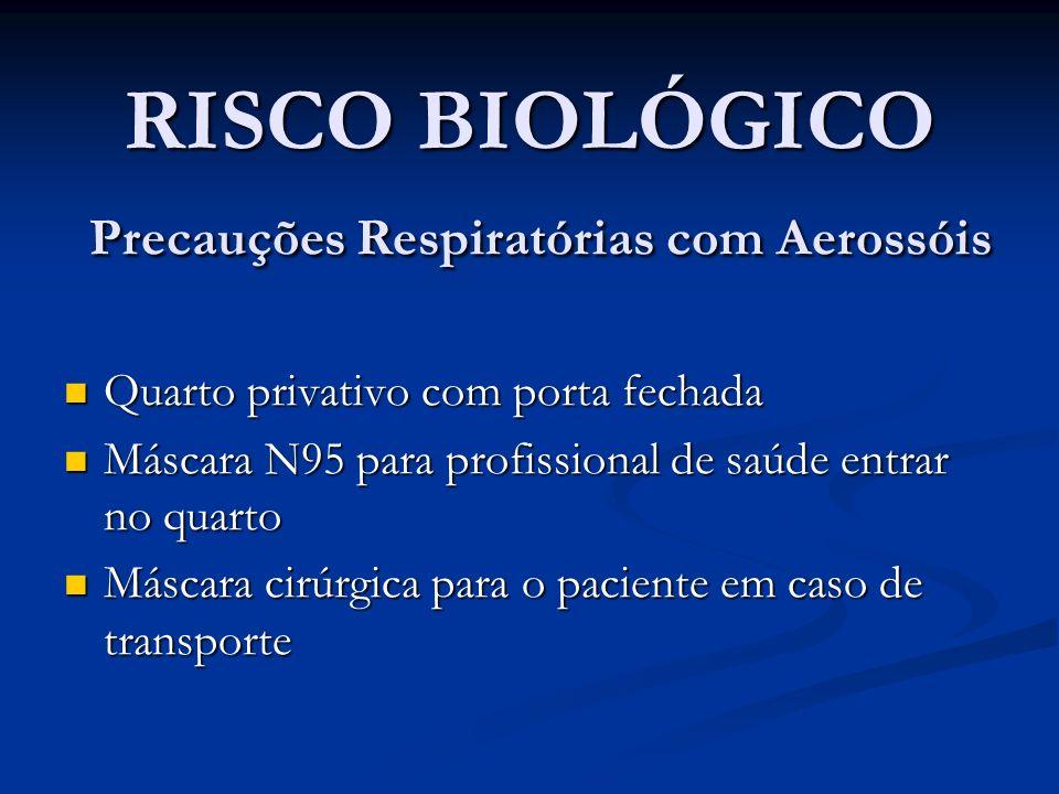 RISCO BIOLÓGICO Precauções Respiratórias com Aerossóis Quarto privativo com porta fechada Quarto privativo com porta fechada Máscara N95 para profissi
