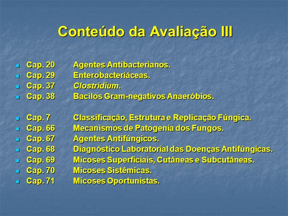 Conteúdo da Avaliação III Cap.20Agentes Antibacterianos.