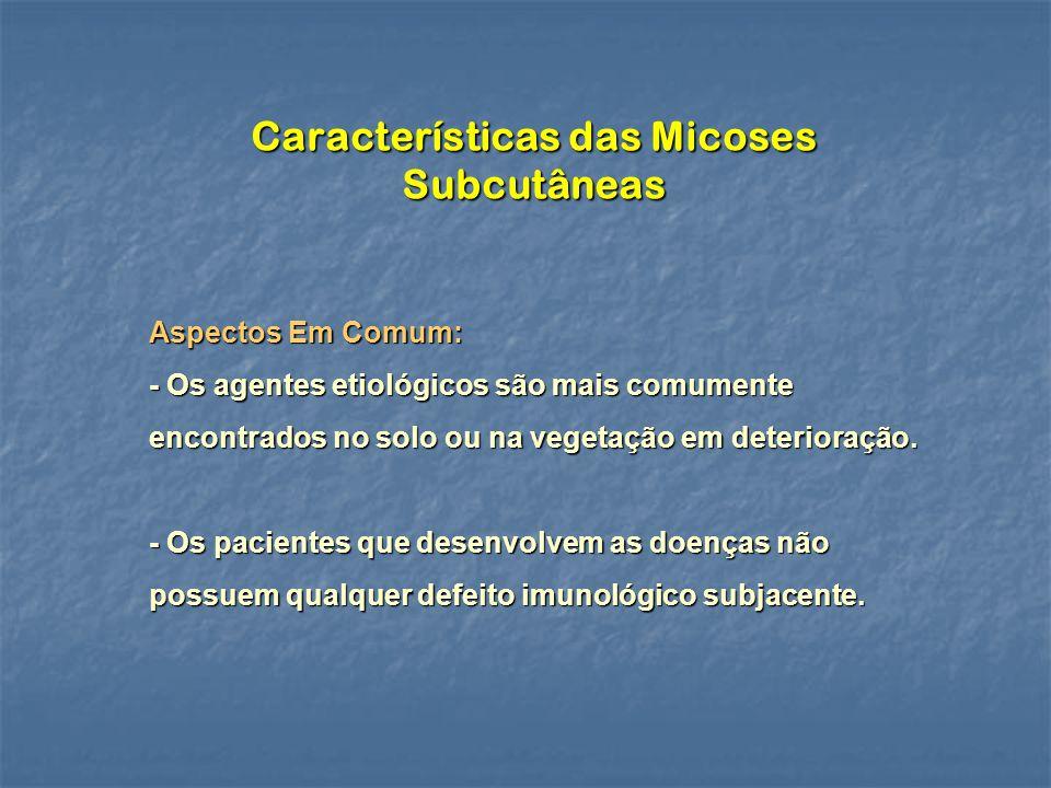 Características das Micoses Subcutâneas Aspectos Em Comum: - Os agentes etiológicos são mais comumente encontrados no solo ou na vegetação em deterioração.