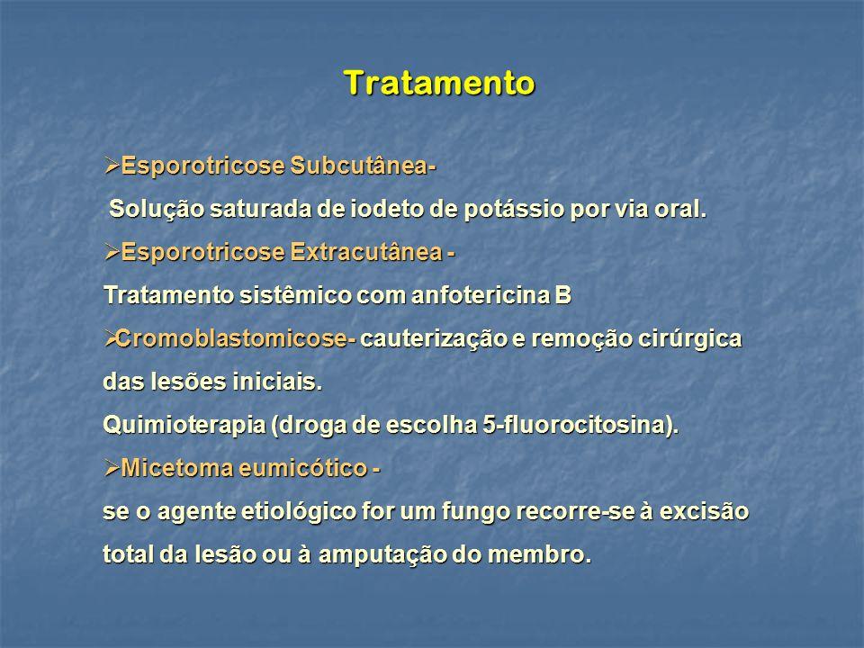 Tratamento Esporotricose Subcutânea- Esporotricose Subcutânea- Solução saturada de iodeto de potássio por via oral.