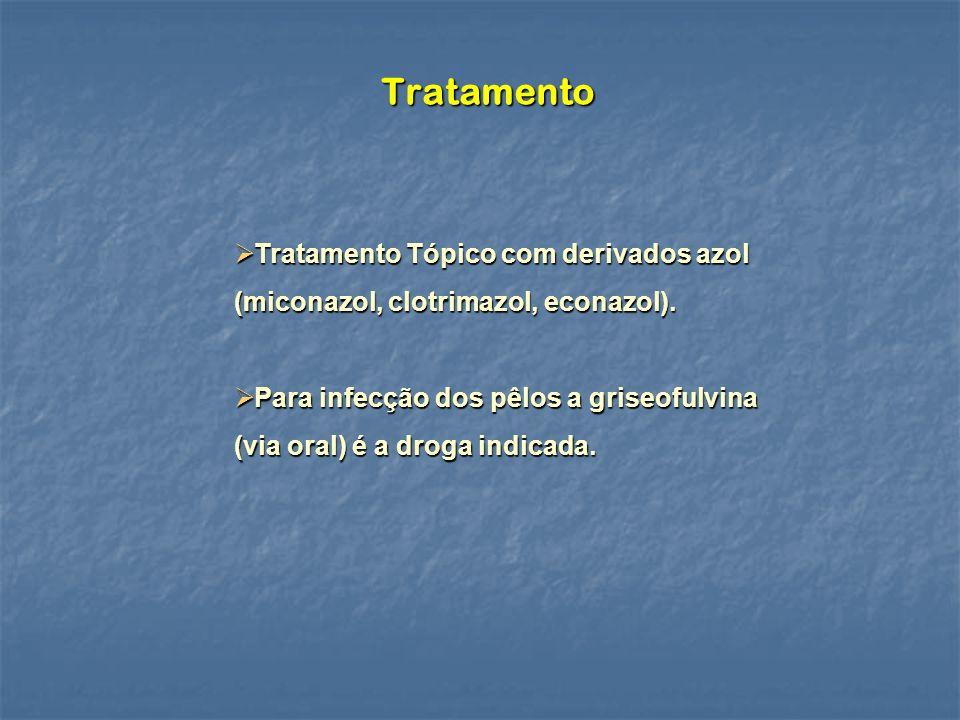 Tratamento Tratamento Tópico com derivados azol (miconazol, clotrimazol, econazol).