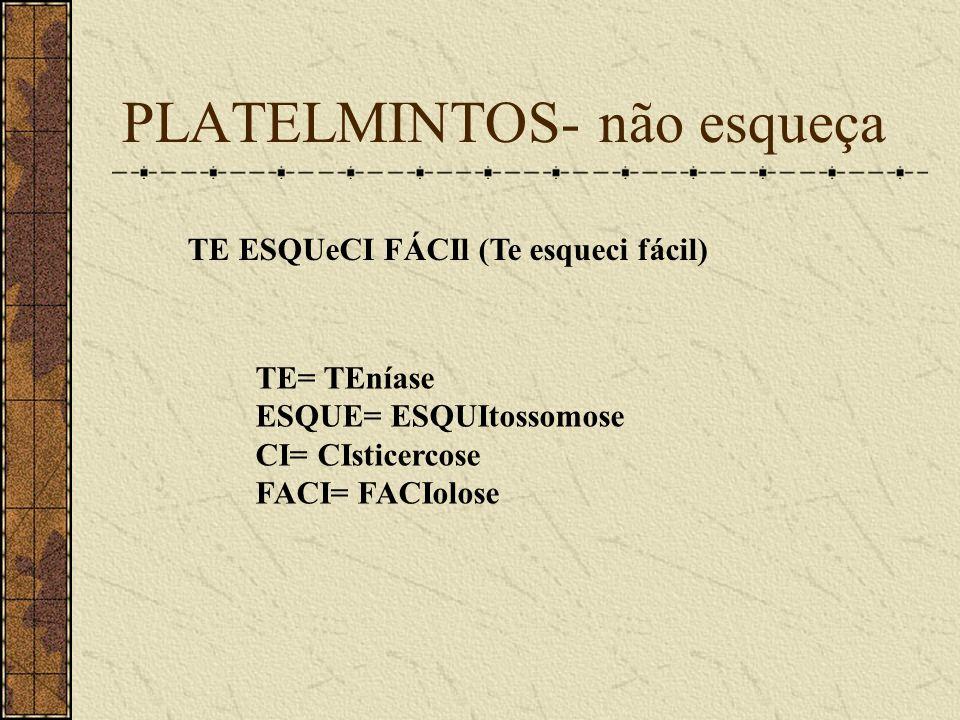 PLATELMINTOS- não esqueça TE ESQUeCI FÁCIl (Te esqueci fácil) TE= TEníase ESQUE= ESQUItossomose CI= CIsticercose FACI= FACIolose