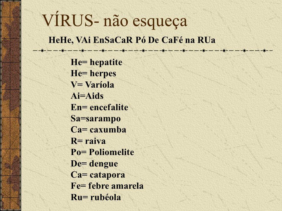 VÍRUS- não esqueça HeHe, VAi EnSaCaR Pó De CaFé na RUa He= hepatite He= herpes V= Varíola Ai=Aids En= encefalite Sa=sarampo Ca= caxumba R= raiva Po= P