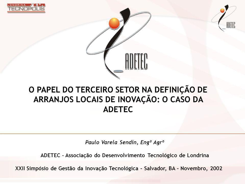 Paulo Varela Sendin, Engº Agrº ADETEC - Associação do Desenvolvimento Tecnológico de Londrina XXII Simpósio de Gestão da Inovação Tecnológica – Salvad