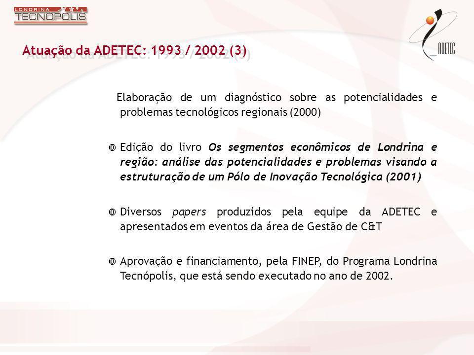 Elaboração de um diagnóstico sobre as potencialidades e problemas tecnológicos regionais (2000) Edição do livro Os segmentos econômicos de Londrina e
