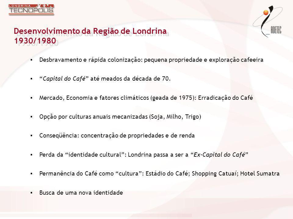 Conhecimento Inovação TI 19201930194019501960197019801990200020102020 FLORESTA PEQUENA PROPRIEDADE + CAFEICULTURA CAPITAL MUNDIAL DO CAFÉ Desestruturação SOJA BÓIA-FRIA IDENTIDADE Londrina de Capital do Café a Tecnópolis Ganho de Qualidade Construção Civil Serviços´(Saúde / Telecom)