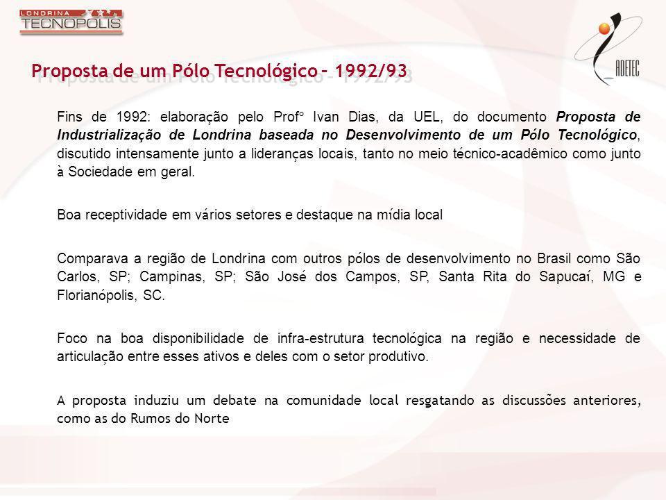 Fins de 1992: elabora ç ão pelo Prof º Ivan Dias, da UEL, do documento Proposta de Industrializa ç ão de Londrina baseada no Desenvolvimento de um P ó