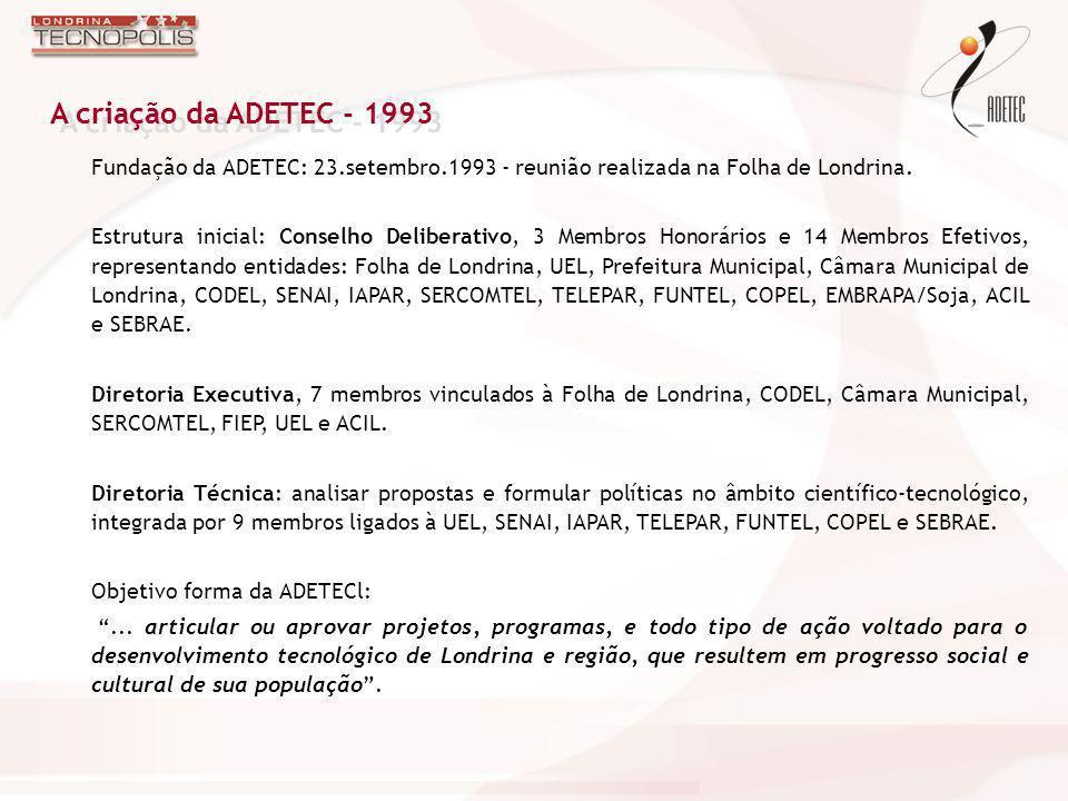 Região de Londrina: de arranjo de inovação para sistema de inovação Reconhecimento da necessidade de construção de uma cultura favorável à inovação na região Implantação da Incubadora Industrial de Londrina – INCIL, gerenciada pela ADETEC de 1995 a 1999 com grande sucesso Implantação do Núcleo SOFTEX em 1995, hoje com cerca de 45 associados Lançamento em 1998 da RURALTECH – Mostra Competitiva do Agronegócio, que, ao longo de 5 anos, premiou 28 projetos Atuação da ADETEC: 1993 / 2002 (1)