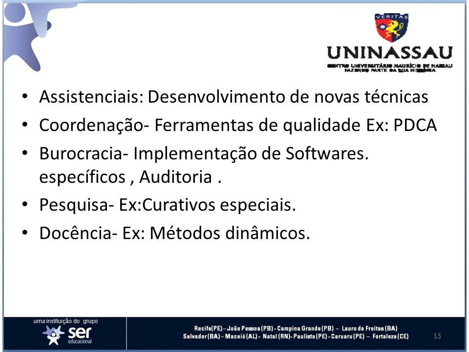 Assistenciais: Desenvolvimento de novas técnicas Coordenação- Ferramentas de qualidade Ex: PDCA Burocracia- Implementação de Softwares.