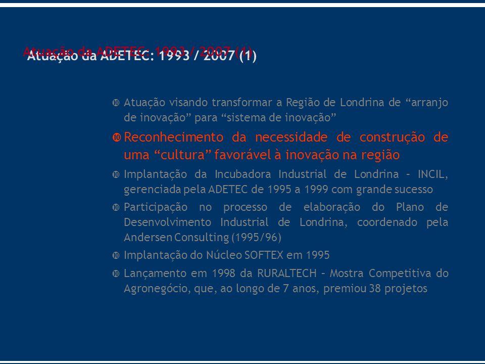 Atuação visando transformar a Região de Londrina de arranjo de inovação para sistema de inovação Reconhecimento da necessidade de construção de uma cu
