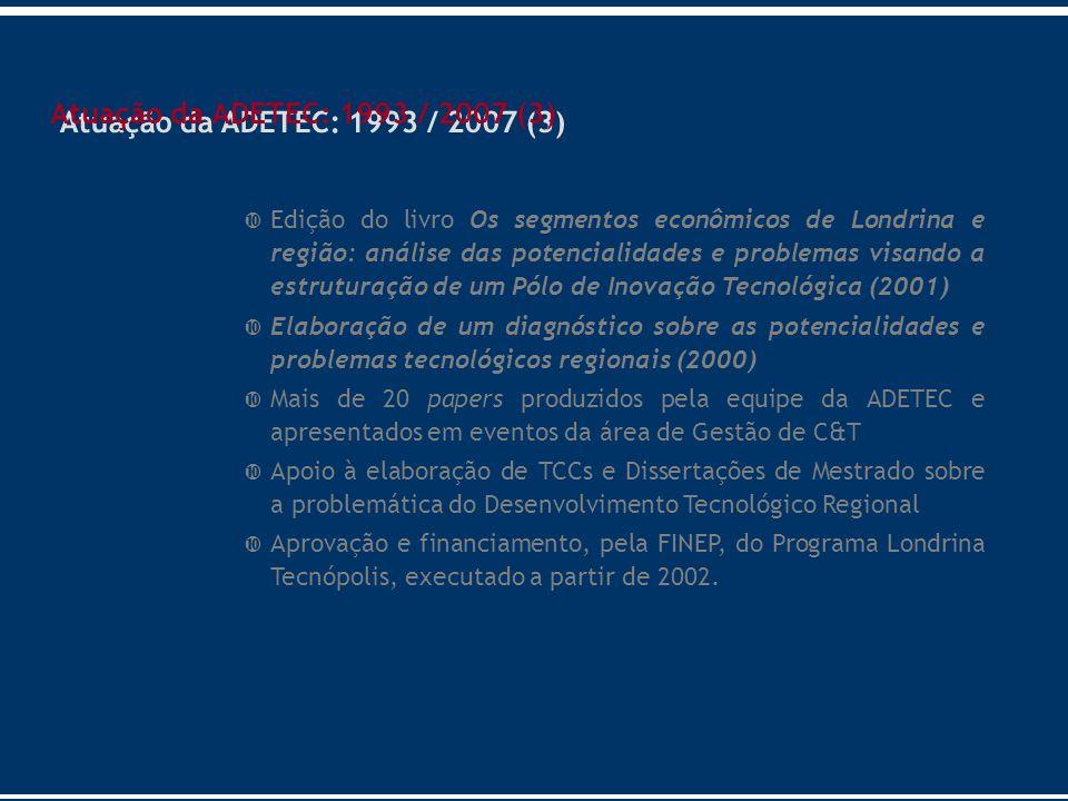 Edição do livro Os segmentos econômicos de Londrina e região: análise das potencialidades e problemas visando a estruturação de um Pólo de Inovação Te