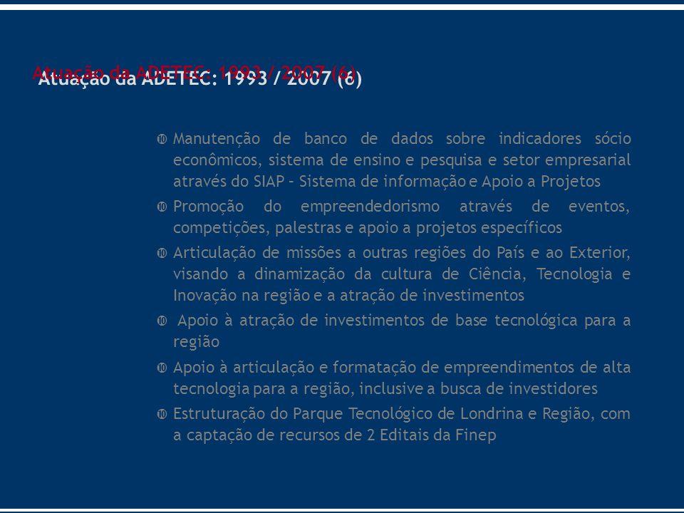 Manutenção de banco de dados sobre indicadores sócio econômicos, sistema de ensino e pesquisa e setor empresarial através do SIAP – Sistema de informa