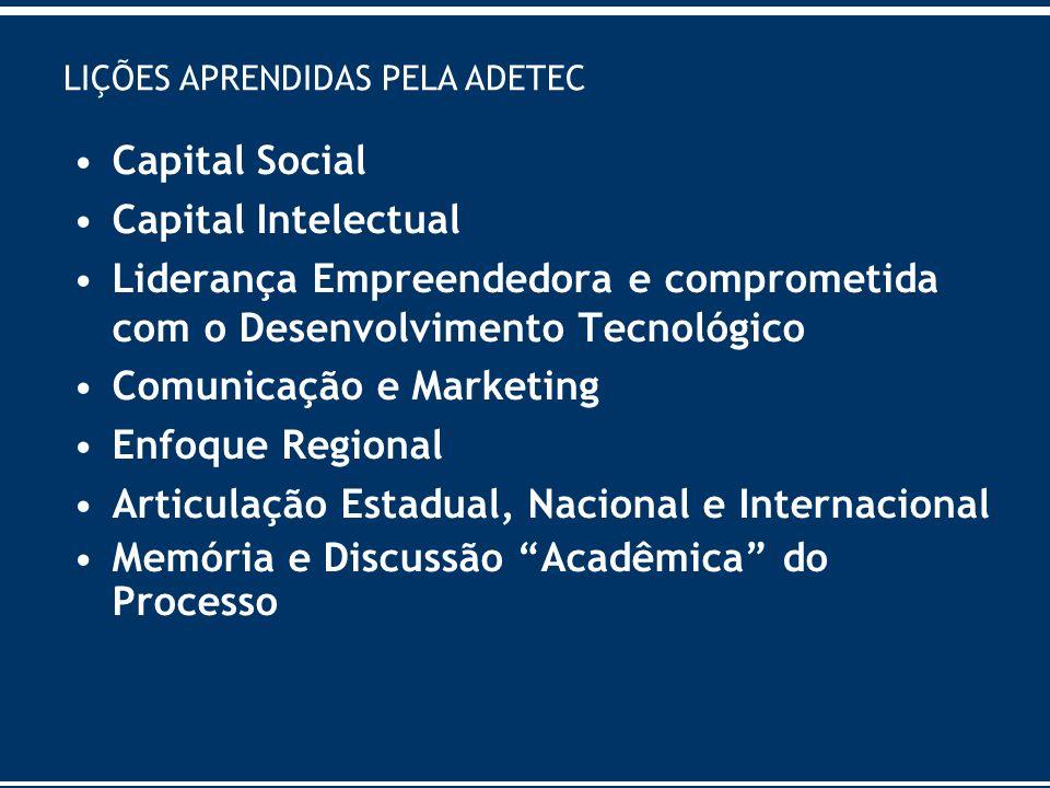 LIÇÕES APRENDIDAS PELA ADETEC Capital Social Capital Intelectual Liderança Empreendedora e comprometida com o Desenvolvimento Tecnológico Comunicação