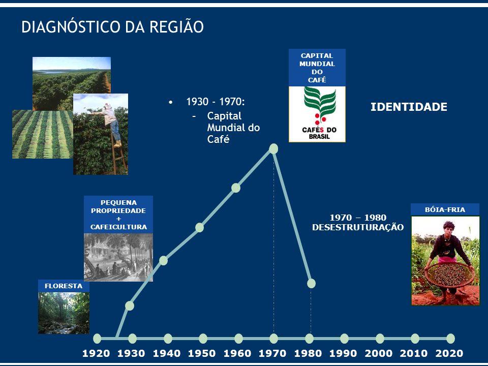 DIAGNÓSTICO DA REGIÃO 1930 - 1970: –Capital Mundial do Café 19201930194019501960197019801990200020102020 FLORESTA PEQUENA PROPRIEDADE + CAFEICULTURA C