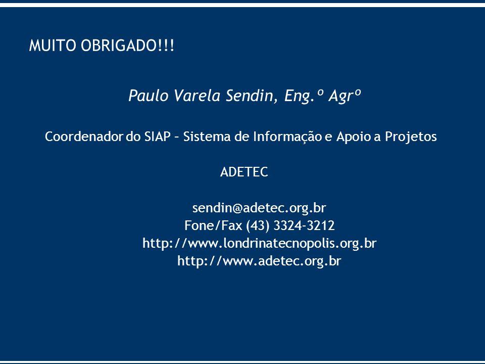 MUITO OBRIGADO!!! Paulo Varela Sendin, Eng.º Agrº Coordenador do SIAP – Sistema de Informação e Apoio a Projetos ADETEC sendin@adetec.org.br Fone/Fax