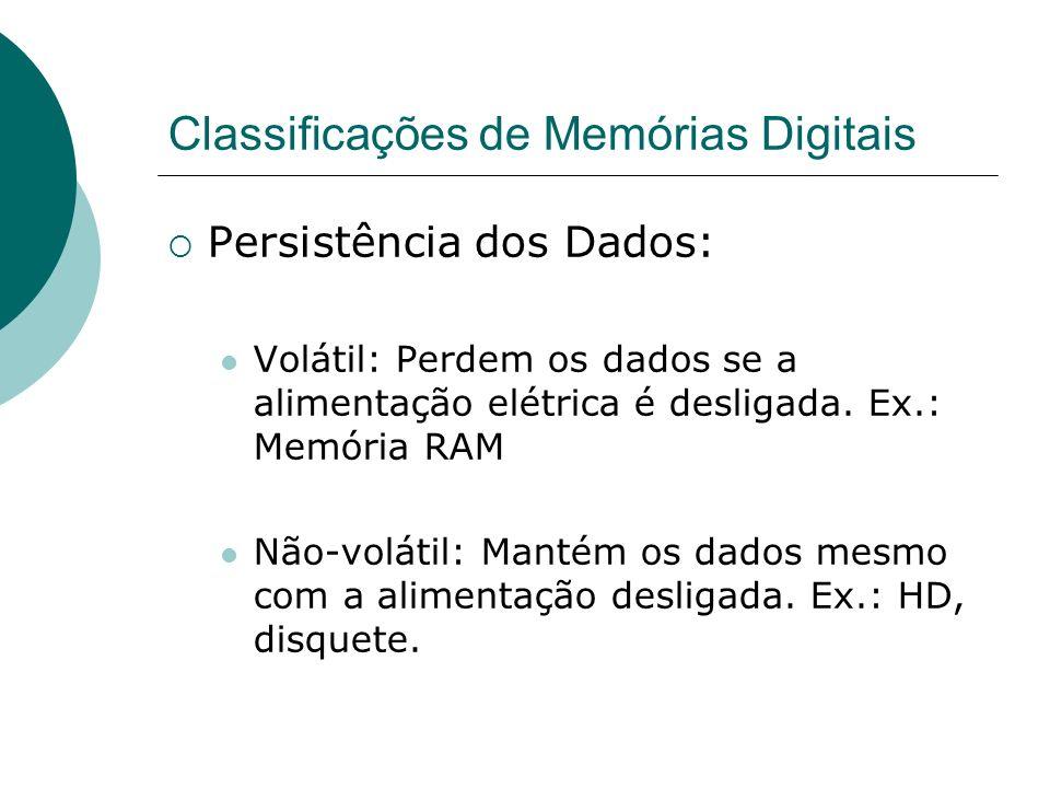 Classificações de Memórias Digitais Persistência dos Dados: Volátil: Perdem os dados se a alimentação elétrica é desligada. Ex.: Memória RAM Não-volát