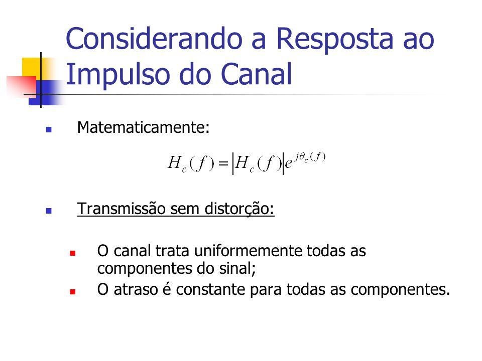 Considerando a Resposta ao Impulso do Canal Matematicamente: Transmissão sem distorção: O canal trata uniformemente todas as componentes do sinal; O a