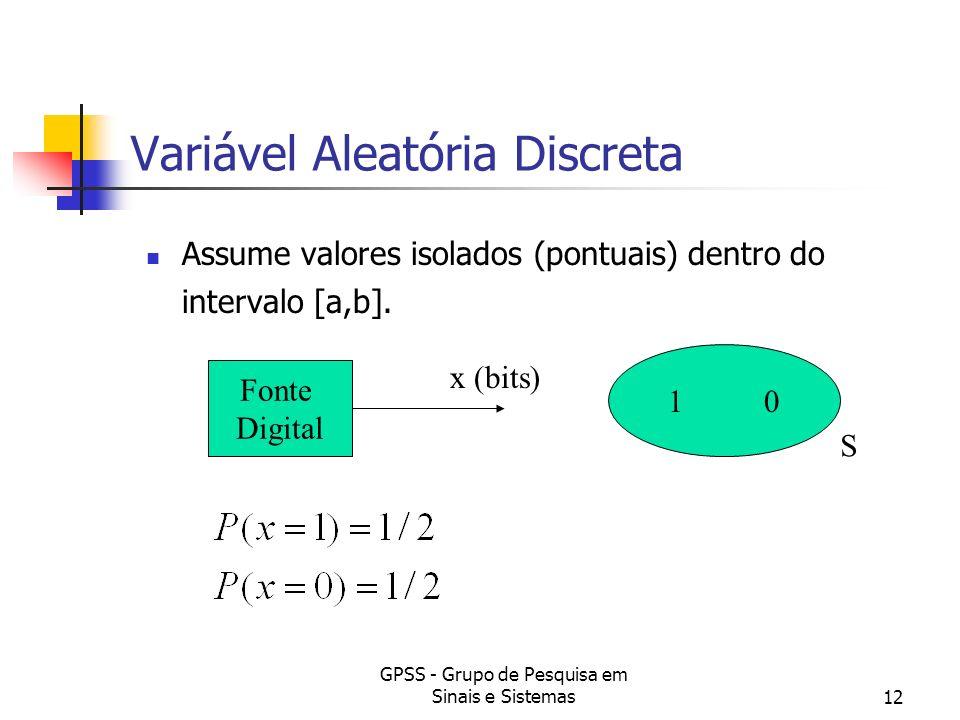 GPSS - Grupo de Pesquisa em Sinais e Sistemas12 Variável Aleatória Discreta Assume valores isolados (pontuais) dentro do intervalo [a,b]. 1 0 Fonte Di