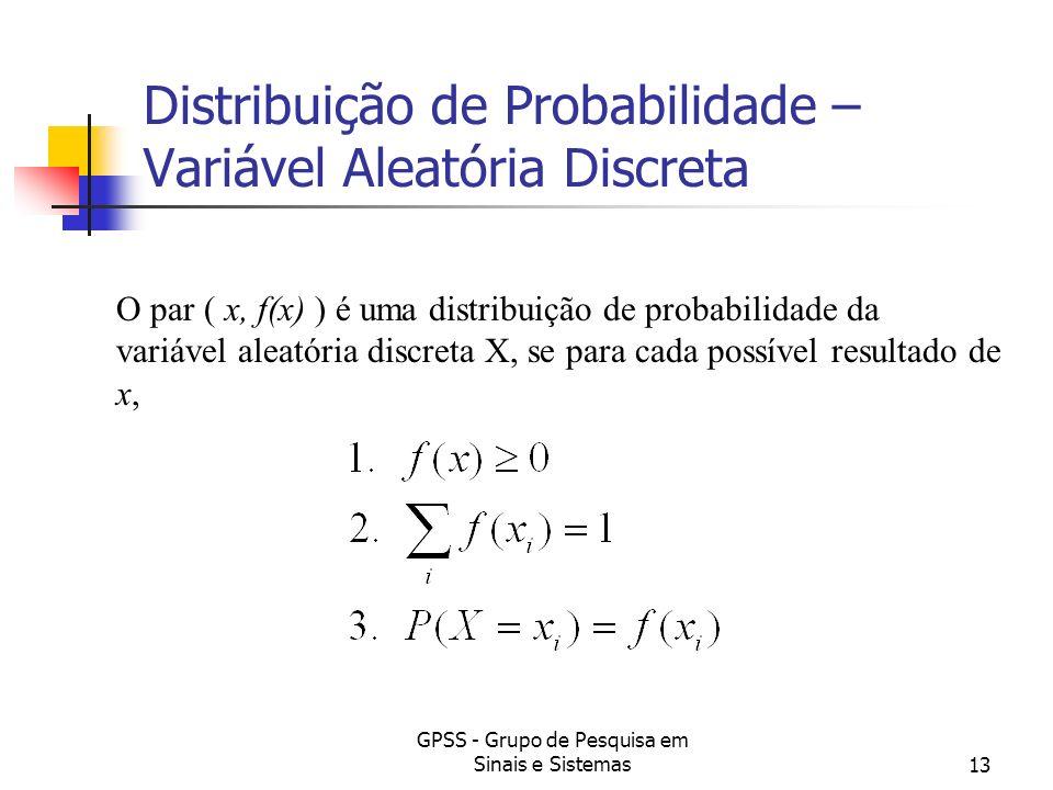 GPSS - Grupo de Pesquisa em Sinais e Sistemas13 Distribuição de Probabilidade – Variável Aleatória Discreta O par ( x, f(x) ) é uma distribuição de pr