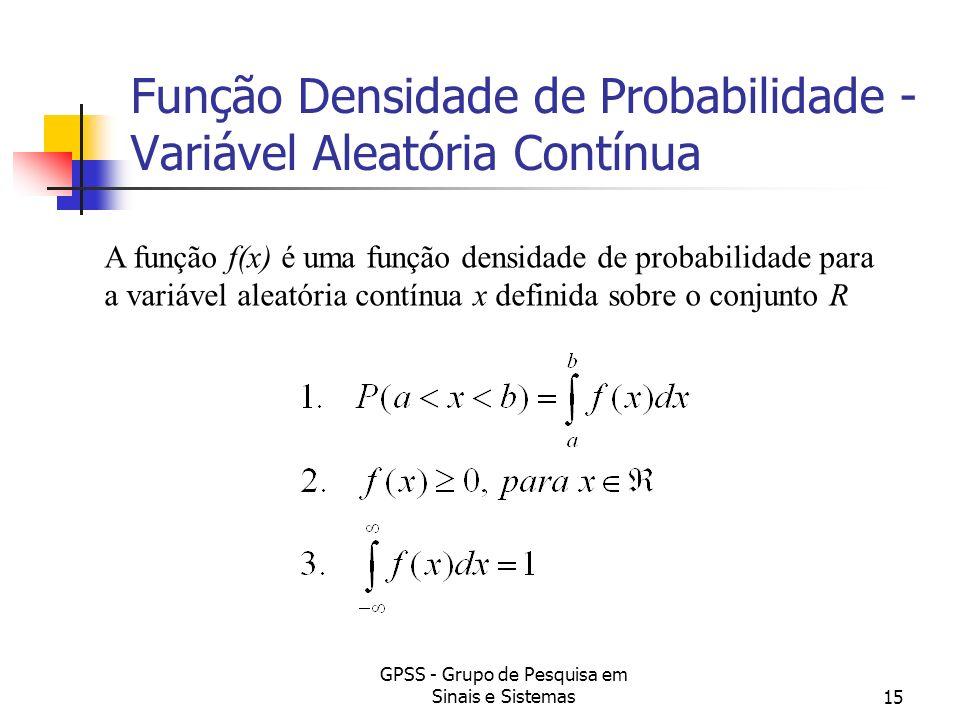 GPSS - Grupo de Pesquisa em Sinais e Sistemas15 Função Densidade de Probabilidade - Variável Aleatória Contínua A função f(x) é uma função densidade d