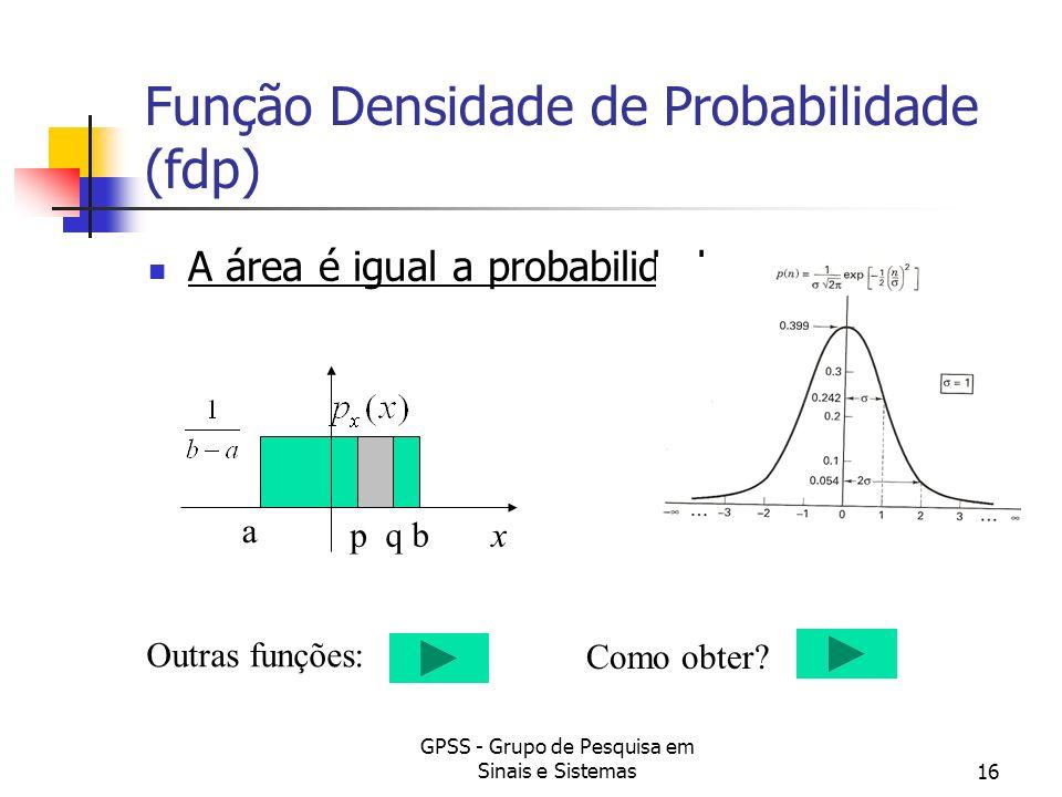 GPSS - Grupo de Pesquisa em Sinais e Sistemas16 Função Densidade de Probabilidade (fdp) A área é igual a probabilidade. p qx a b Outras funções: Como