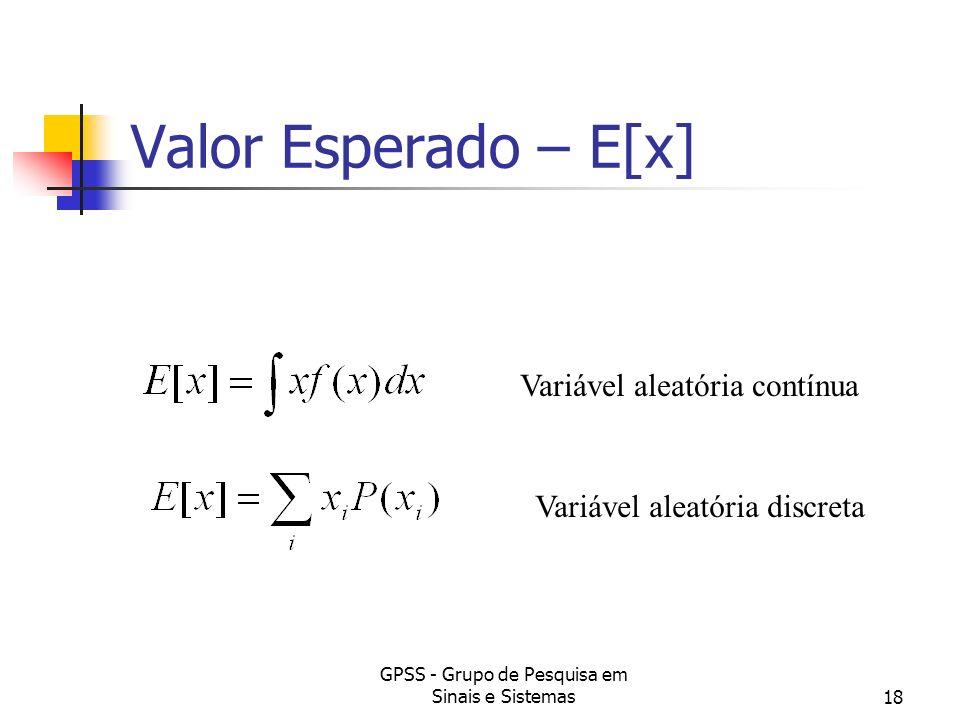 GPSS - Grupo de Pesquisa em Sinais e Sistemas18 Valor Esperado – E[x] Variável aleatória contínua Variável aleatória discreta