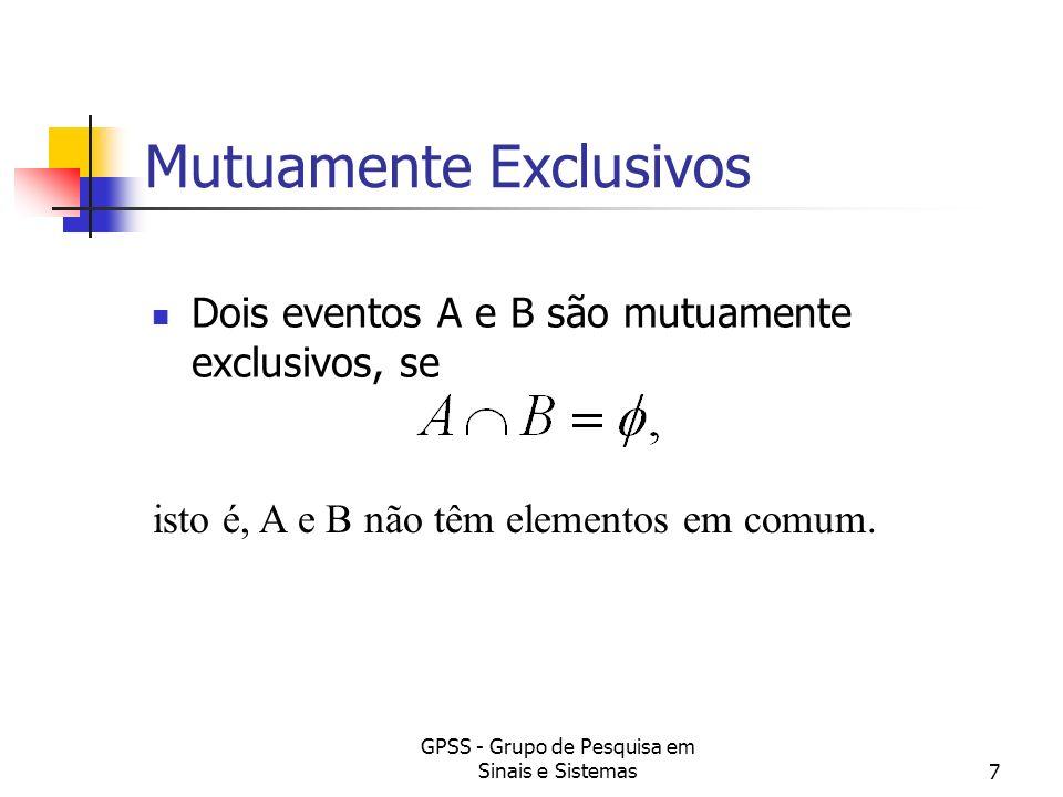 GPSS - Grupo de Pesquisa em Sinais e Sistemas7 Mutuamente Exclusivos Dois eventos A e B são mutuamente exclusivos, se isto é, A e B não têm elementos