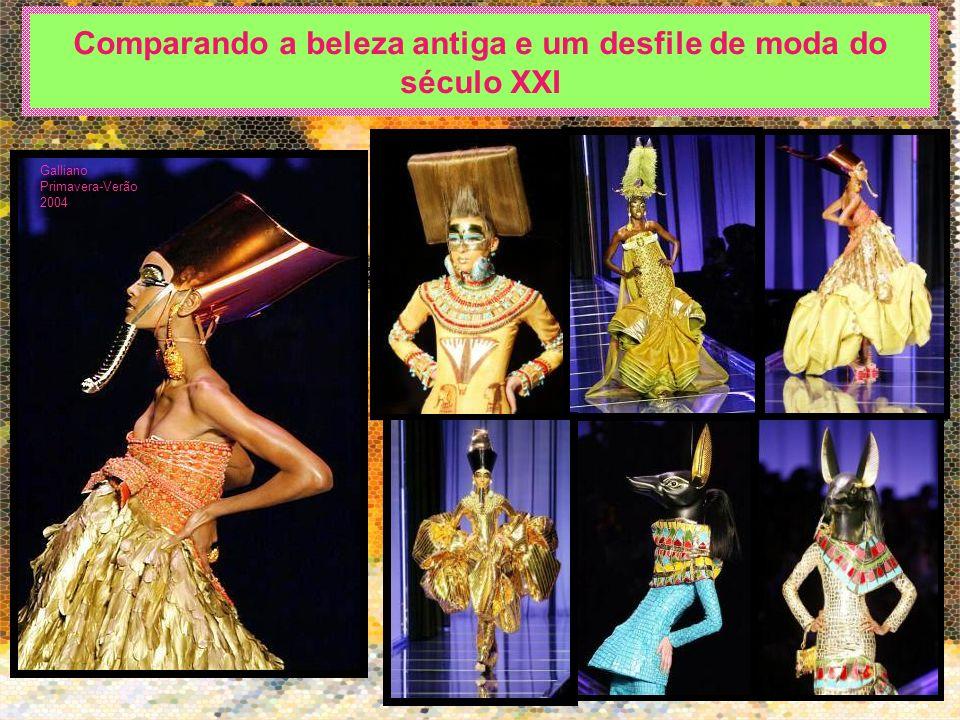 Comparando a beleza antiga e um desfile de moda do século XXI Galliano Primavera-Verão 2004